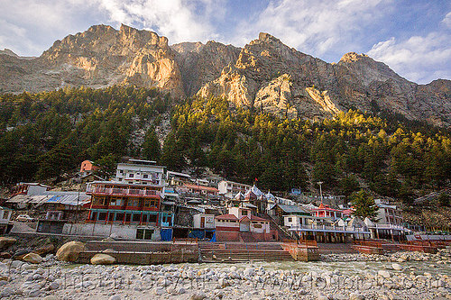 gangotri ghats on the bhagirathi river (india), bhagirathi river, bhagirathi valley, gangotri, ghats, hindu pilgrimage, hinduism, india, mountains, river bed