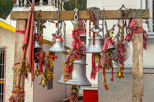 gangotri temple bells (india), bells, bhagirathi valley, gangotri, hanging, hinduism, temple