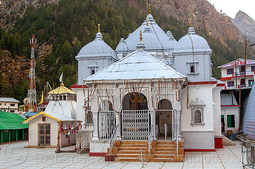 gangotri temple (india), bhagirathi valley, gangotri, hindu pilgrimage, hindu temple, hinduism, india, mountains