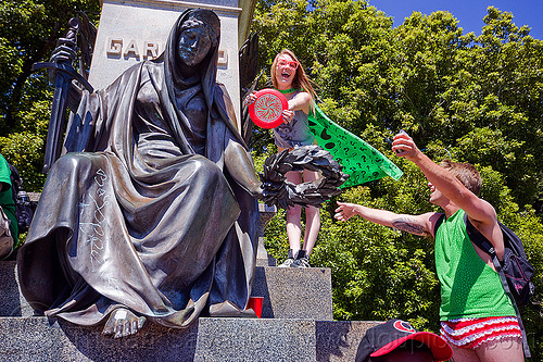 garfield monument, bay to breakers, brass statue, festival, footrace, golden gate park, man, monument, president garfield, sculpture, street party, women