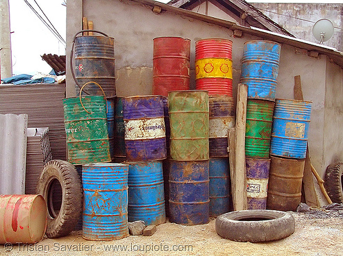 gasoline barrels in gas station - vietnam, fuel, gas station, gasoline barrels, oil barrels, petrol station, quản bạ, tám sơn, vietnam