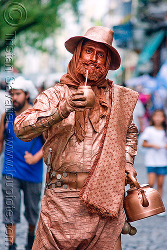 gaucho, brass, buenos aires, living statue, man, mate, metal, people, performer, porongo, san telmo, yerba mate