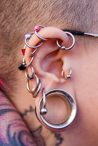 ear piercing, ear piercing, ear rim piercing, earrings, gauged ears, helix piercing, how weird festival, stretched earlobes, woman