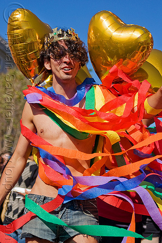 gay pride san francisco, crown, gay pride festival, heart balloons, man, paper strips, rainbow colors