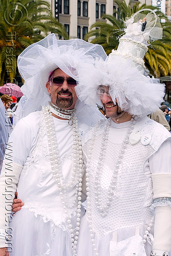 gay wedding - brides of march (san francisco), brides of march, festival, marriage, men, two, wedding, white