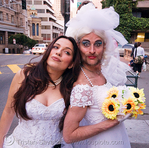 gay wedding?, bridal bouquet, brides of march, couple, diana furka, festival, flowers, gay wedding, man, randal alan smith, randal smith, same-sex wedding, wedding dress, white, woman