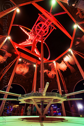 gears in the man's base - burning man 2016, base, burning man, gears, glowing, night, red neons, shalt, the man, vitruvian man