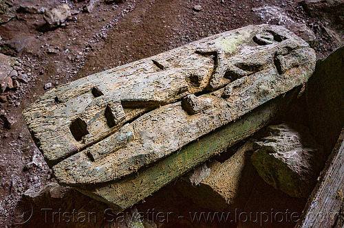 geckos carved on ancient coffin - lumiang cave - sagada (philippines), burial cave, cemetery, coffin, geckos, grave, lumiang cave, natural cave, philippines, sagada, tomb, wood carving
