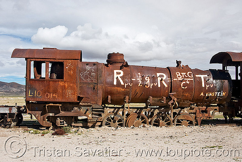 general relativity - einstein field equations - graffiti on steam locomotive, bolivia, efe, enfe, equation, fca, general relativity, graffiti, physics, railroad, railway, rusty, science, scrapyard, steam engine, steam locomotive, steam train engine, train cemetery, train graveyard, train junkyard, uyuni