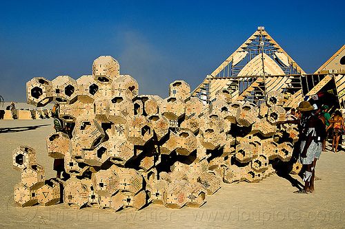 geometrical modular sculpture near the temple - burning man 2013, burning man, modular, modules, temple of whollyness, wooden sculpture