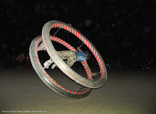 german wheel - burning-man 2004, art, burning man, german wheel, night, rolling