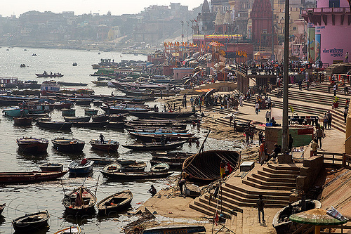 ghats and boats on ganges river - varanasi (india), ganga river, ganges river, ghats, hindu, hinduism, main ghat, mooring, people, river bank, river boats, steps, varanasi, water