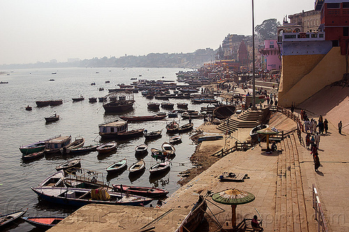 ghats and boats on ganges river - varanasi (india), ganga, ganga river, hindu, hinduism, mooring, people, river bank, river boats, water