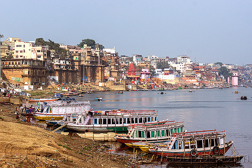 ghats of varanasi along the ganges river (india), buildings, ganga, ganges river, ghats, mooring, river bank, river boats, rowing boats, sailing, small boats, varanasi