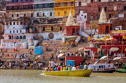 ghats of varanasi - ganges river (india), ganga, ganges river, ghats, hindu, hinduism, india, pilgrims, river boats, varanasi