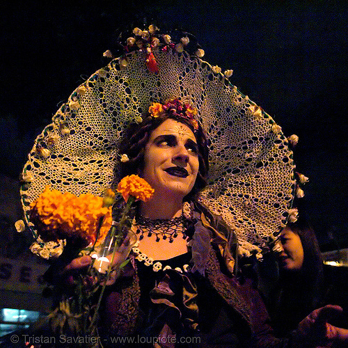 ghost makeup - dia de los muertos - halloween (san francisco), costumes, day of the dead, face painting, facepaint, hip2bsquare, mission, mona, night, people, the mission