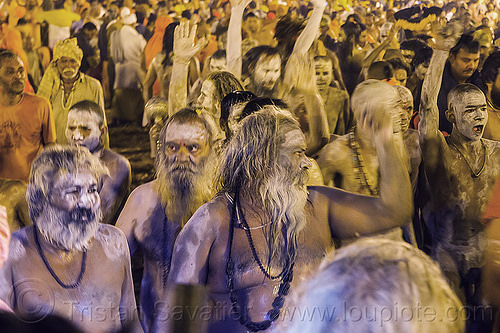 ghosty naga babas - kumbh mela (india), beard, crowd, dreadlocks, hindu pilgrimage, hinduism, holy ash, india, maha kumbh mela, men, naga babas, naga sadhus, night, sacred ash, sadhu, vasant panchami snan, vibhuti, walking