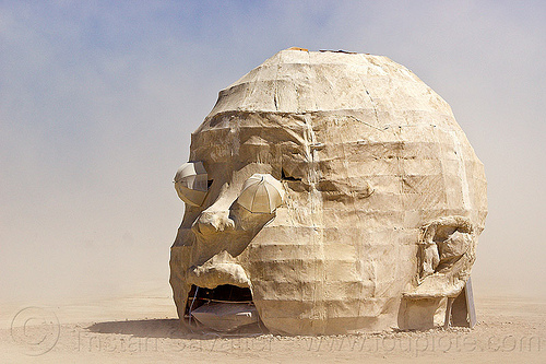 giant baby head - burning man 2013, art installation, baby head, burning man, child head, psychokinetic child, sculpture
