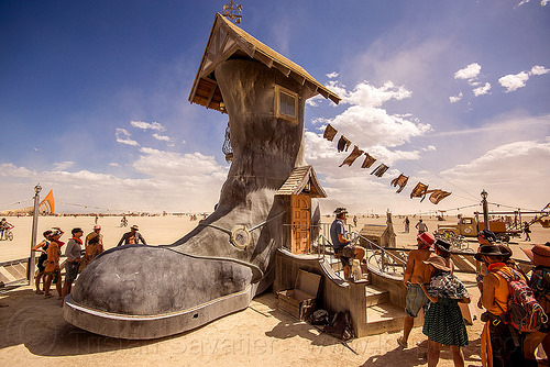 giant boot - storied haven - burning man 2015, 5 ton crane, 5tc, art installation, boot, burning man, five ton crane, house, shoe, storied haven