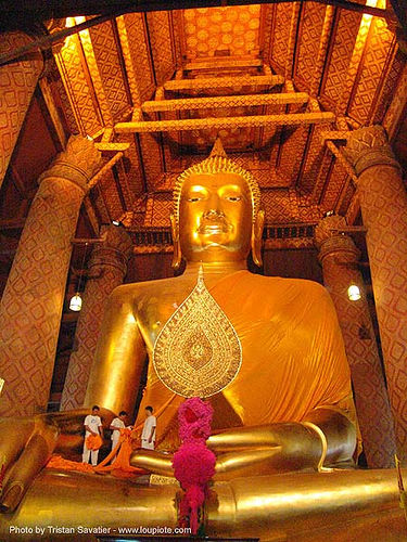 พระพุทธรูป - giant buddha statue in chinese temple - สุโขทัย - sukhothai - thailand, buddha image, buddha statue, buddhism, buddhist temple, chinese, cloth, cross-legged, golden color, sculpture, sukhothai, wat, ประเทศไทย, พระพุทธรูป, สุโขทัย
