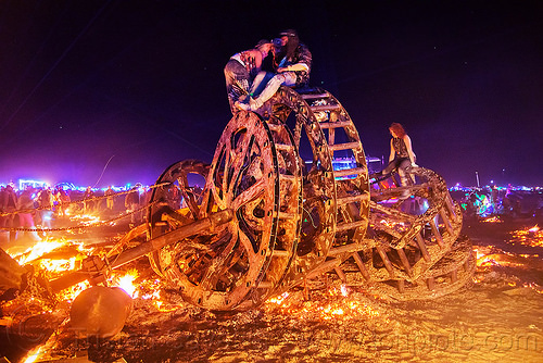 giant gears wreckage - burning man 2016, burning man, embers, fire, gears, night