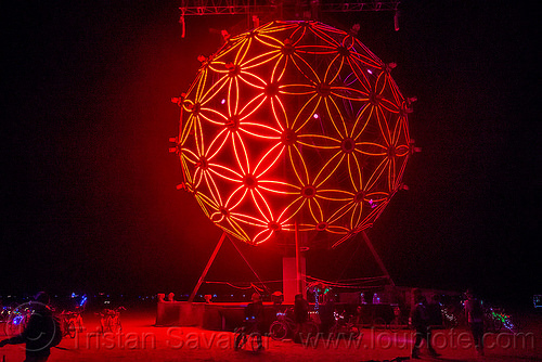 giant glowing red ball - burning man 2015, art installation, burning man, flower of life, geodesic, glowing, night, pattern, red, sphere, the ball