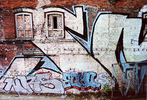 giant graffiti (berlin), berlin, brick wall, graffiti, street art, walled windows