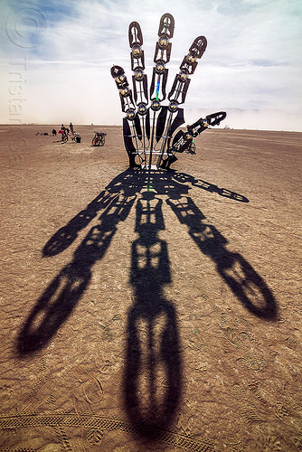 giant hand - awakening - burning man 2016, art installation, awakening, burning man, hand, shadow