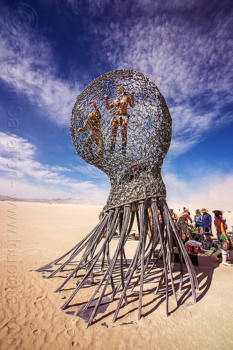 giant metal jellyfish sculpture - burning man 2016, art installation, burning man, giant jellyfish, jellyfish sculpture, unidentified art