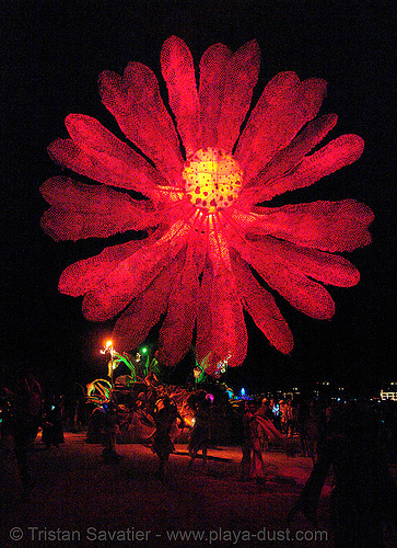 giant red flower - miracle grow aka hope flower - burning-man 2006, art car, burning man, giant flower, glowing, miracle grow, mutant vehicles, night, red