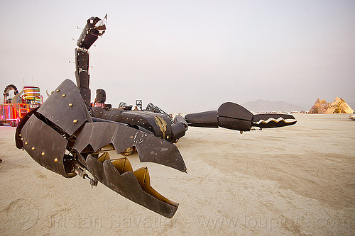 giant scorpion art car - burning man 2013, claws, metal, playa, scorpion art car