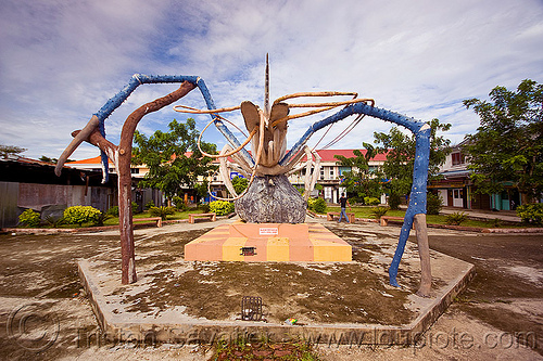 giant shrimp monument - beluran (borneo), art, beluran, claws, giant prawn, giant shrimp, jumbo prawn, landmark, langouste, lobster mutiara, monument, rock lobster, sculpture, spiny lobster