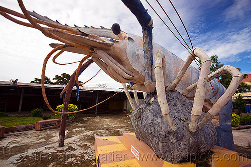 giant shrimp monument - beluran village (borneo), beluran, borneo, giant prawn, giant shrimp, jumbo prawn, landmark, langouste, lobster mutiara, malaysia, monument, rock lobster, sculpture, spiny lobster