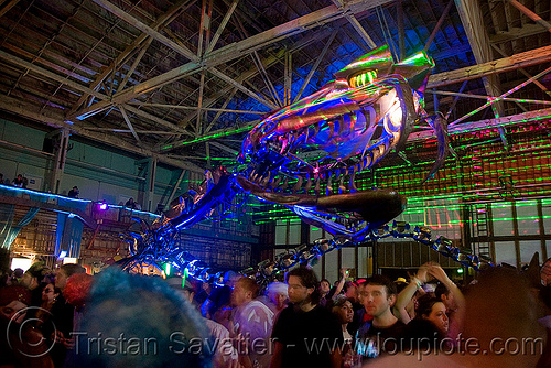 giant snake skeleton animated sculpture - opulent temple massive rave party (treasure island, san francisco) - serpent mother, art installation, flaming lotus girls, giant, lasers, night, nightclub, opulent temple, rave party, sculpture, serpent mother, skeleton, snake