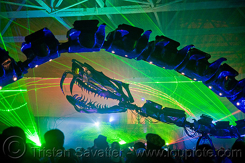 giant snake skeleton animated sculpture - opulent temple massive rave party (treasure island, san francisco) - serpent mother, art, art installation, fangs, flaming lotus girls, green laser, laser lightshow, laser show, lasers, night, nightclub
