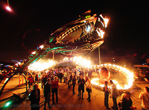 giant snake skeleton sculpture - head - crucible fire arts festival 2007 (oakland, california) - serpent mother, burning, fire art, fire arts festival, flames, flaming lotus girls, giant, sculpture, serpent mother, skeleton, snake, the crucible