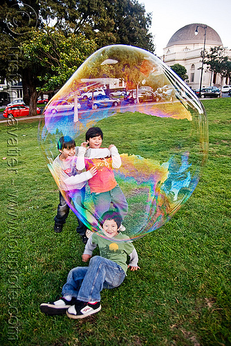 giant soap bubble, big bubble, children, giant bubble, iridescent, kids, lawn, park, playing, soap bubbles