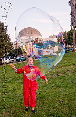 giant soap bubble, big bubble, dolores park, giant bubble, iridescent, playing, red, soap bubbles, turf, woman