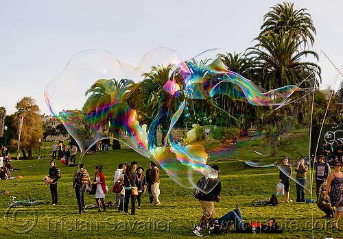 giant soap bubble, big bubble, giant bubble, iridescent, lawn, park, soap bubble