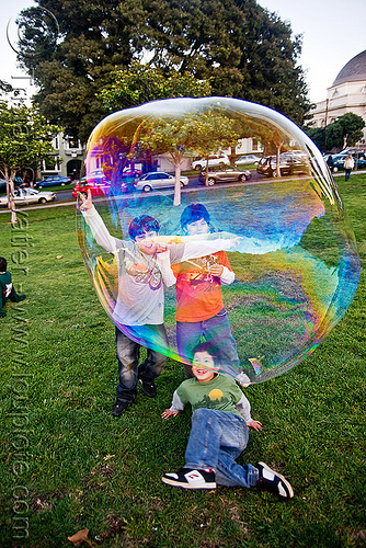 giant soap bubble and kids, big bubble, children, giant bubble, iridescent, kids, lawn, park, playing, soap bubbles