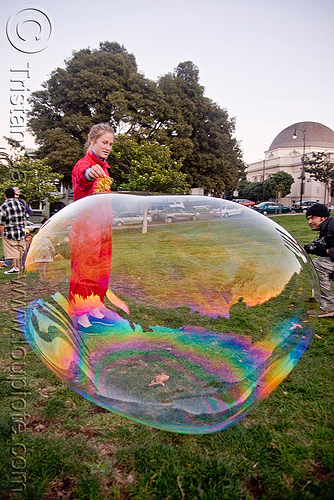 giant soap bubble - red woman, big bubble, giant bubble, iridescent, lawn, park, playing, red, soap bubbles, woman