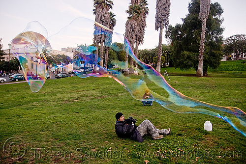 giant soap bubble - tube, big bubble, giant bubble, iridescent, lawn, park, photographer, soap bubbles, tube