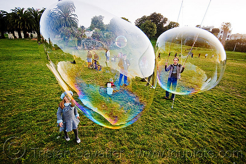 giant soap bubbles, big bubble, child, dolores park, giant bubble, girl, iridescent, kid, playing, soap bubbles, turf, two