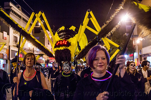 giant spider puppet - dia de los muertos (san francisco), day of the dead, dia de los muertos, giant puppet, halloween, night, people, spider puppet, yellow spider
