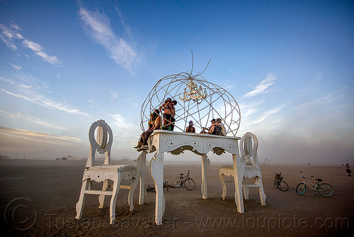 giant table and chairs - burning man 2015, art installation, brobdingnag, burning man, chairs, chandelier, sculpture, table, white