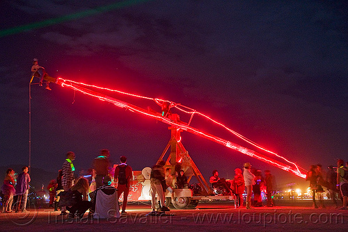 giant teeter totter of death - burning man 2009, art installation, burning man, night, red, seesaw, teeter totter of death, teeter-totter, trick nichols, ttod