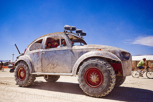 giant VW beetle art car - burning man 2012, beetle art car, bigred art car, burning man, volkswagen, vw beetle