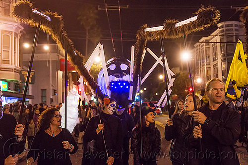 giant white spider puppet - dia de los muertos (san francisco), day of the dead, dia de los muertos, giant puppet, halloween, night, spider puppet