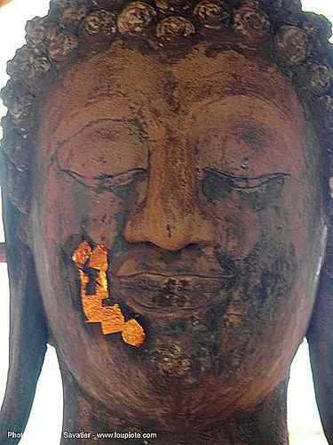 พระพุทธรูป - gilded buddha head - อุทยาน ประวัติศาสตร์ สุโขทัย - เมือง เก่า สุโขทัย - sukhothai - thailand, buddha image, buddha statue, buddhism, gold leaves, sculpture, ประเทศไทย, พระพุทธรูป, สุโขทัย, อุทยาน ประวัติศาสตร์ สุโ��\x82ทัย, เมือง เก่า สุโขทัย