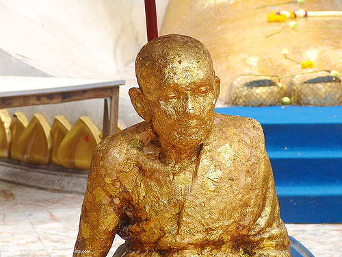 gilded statue of buddhist monk (bangkok) - thailand, bangkok, gilded, gold leaves, golden, offering, statue, temple, wat, บางกอก, ประเทศไทย